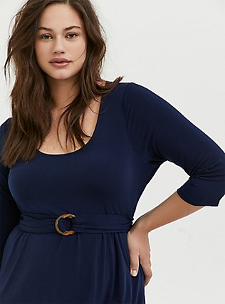 Plus Size Navy Studio Knit Belted Midi Dress, PEACOAT, alternate