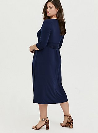 Navy Studio Knit Belted Midi Dress, PEACOAT, alternate
