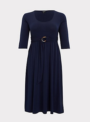 Navy Studio Knit Belted Midi Dress, PEACOAT, flat