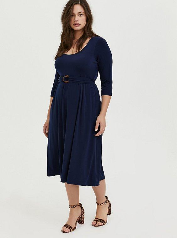 Plus Size Navy Studio Knit Belted Midi Dress, , hi-res