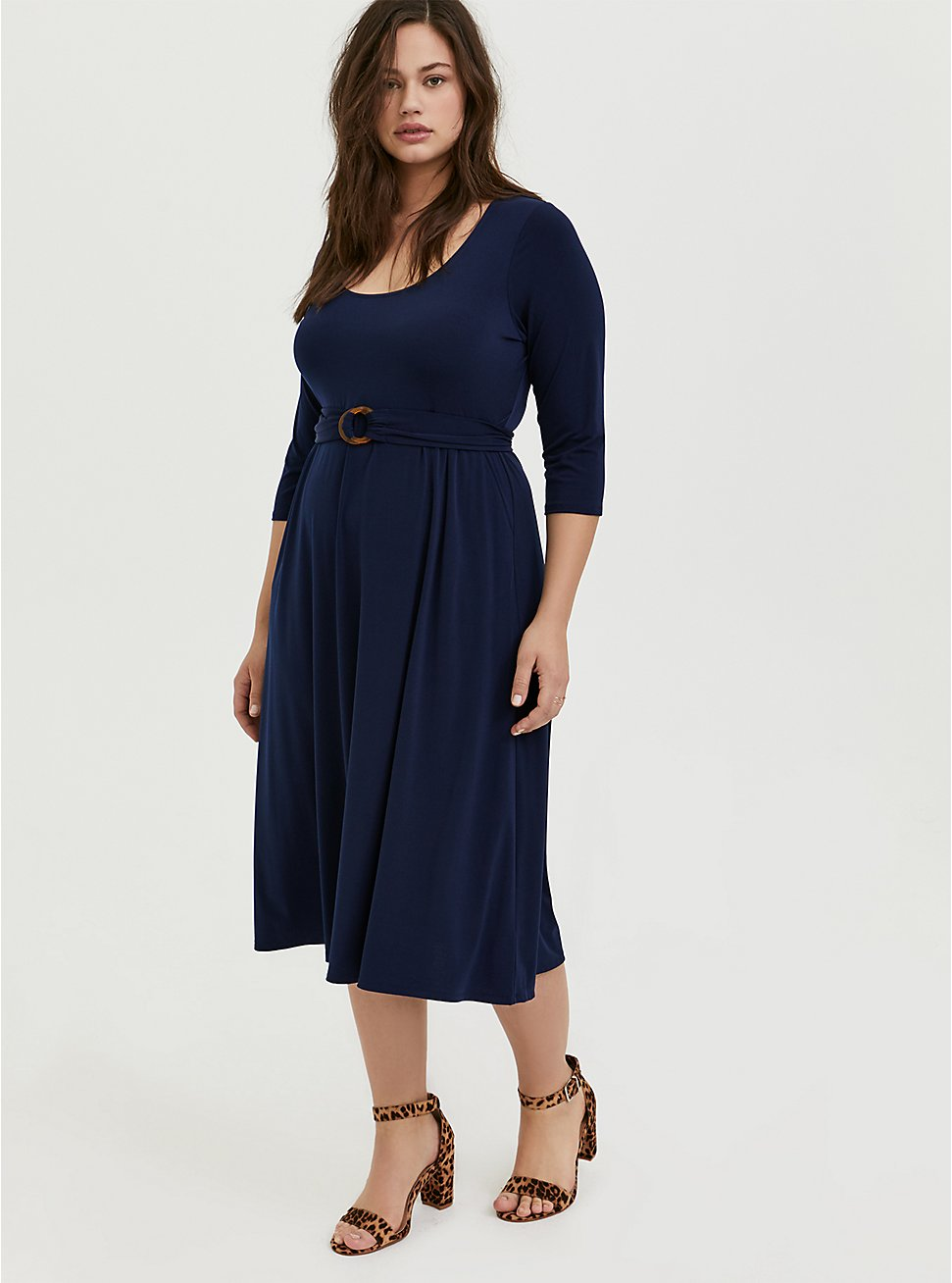 Plus Size Navy Studio Knit Belted Midi Dress, PEACOAT, hi-res