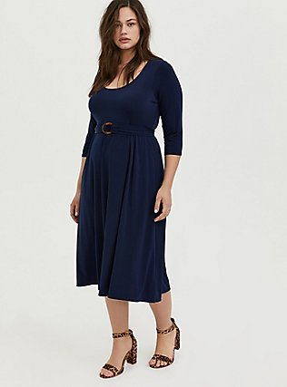 Plus Size Navy Studio Knit Belted Midi Dress, PEACOAT, hi-res