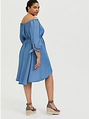 Plus Size Blue Chambray Off The Shoulder Skater Dress, CHAMBRAY, alternate