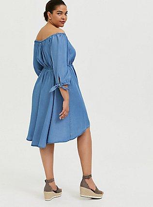 Blue Chambray Off The Shoulder Skater Dress, CHAMBRAY, alternate