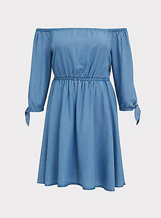 Blue Chambray Off The Shoulder Skater Dress, CHAMBRAY, flat