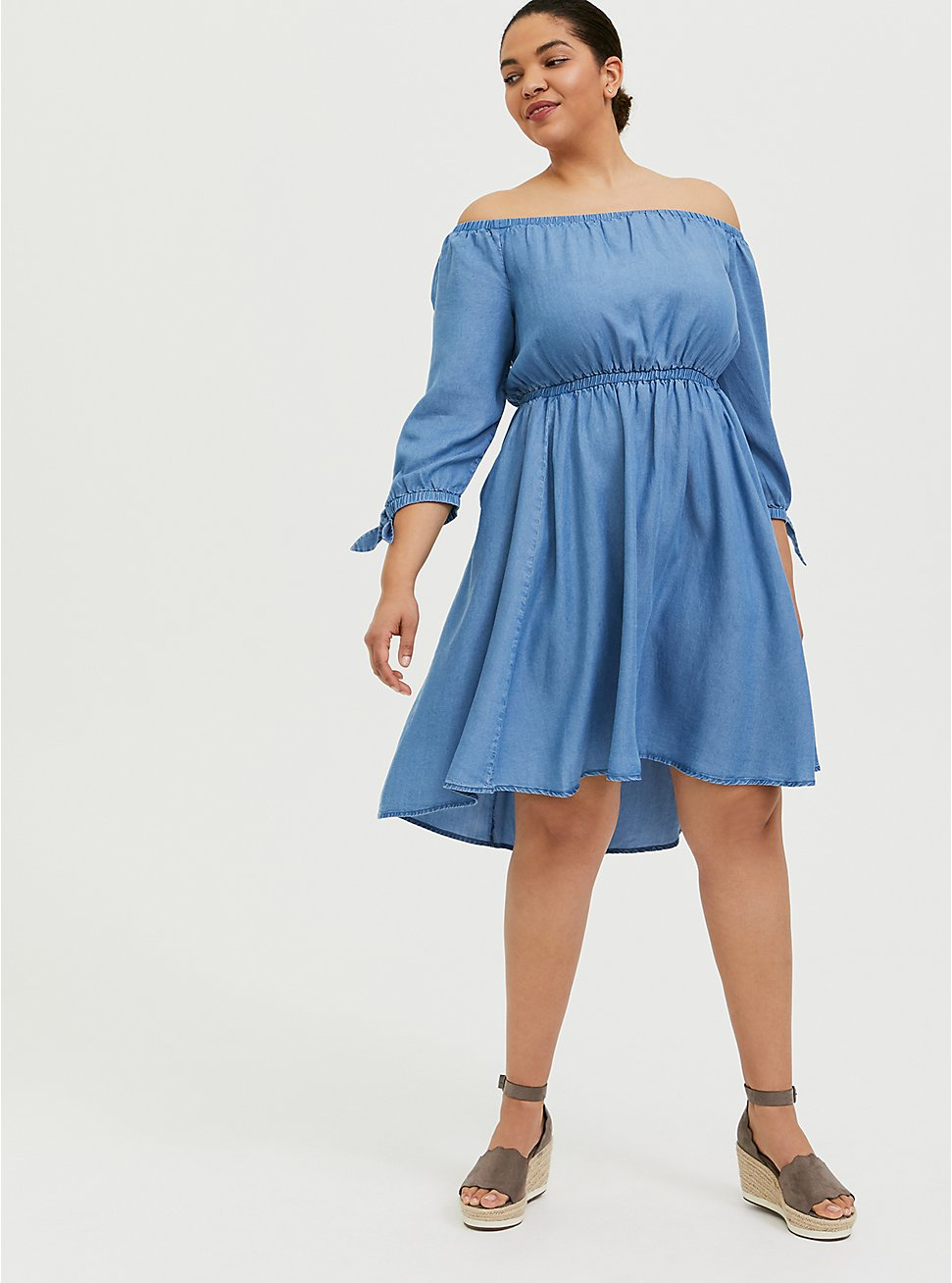 Plus Size Blue Chambray Off The Shoulder Skater Dress, CHAMBRAY, hi-res