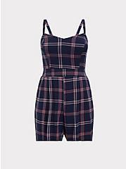 Navy Plaid Challis Romper, PLAID - BLUE, hi-res