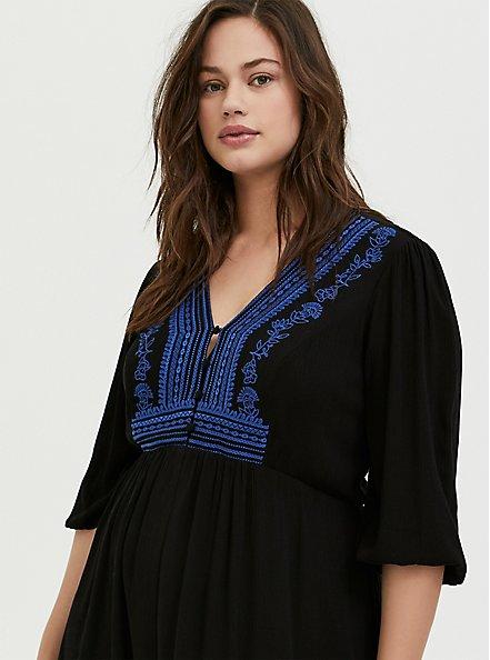 Black Gauze Embroidered Button Down Hi-Lo Dress, DEEP BLACK, alternate