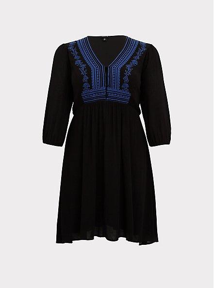 Black Gauze Embroidered Button Down Hi-Lo Dress, DEEP BLACK, hi-res