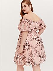 Peach Pink Animal Print Chiffon Off Shoulder Skater Dress, ANIMAL, alternate