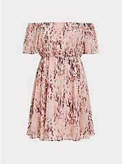 Peach Pink Animal Print Chiffon Off Shoulder Skater Dress, ANIMAL, hi-res