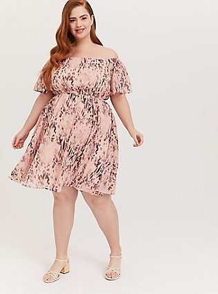 Plus Size Peach Pink Animal Print Chiffon Off Shoulder Skater Dress, ANIMAL, hi-res