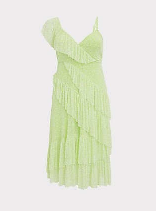 Neon Yellow Mesh Floral Ruffle Midi Dress, FLORALS-WHITE, flat