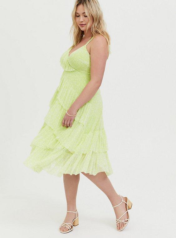 Plus Size Neon Yellow Mesh Floral Ruffle Midi Dress, , hi-res