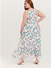 White Tropical Gauze Shirred Hem Maxi Dress, FLORAL - MULTI, alternate