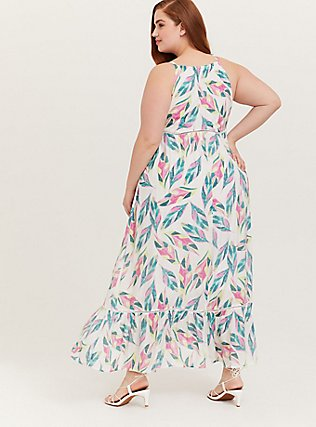 Plus Size White Tropical Gauze Shirred Hem Maxi Dress, FLORAL - MULTI, alternate