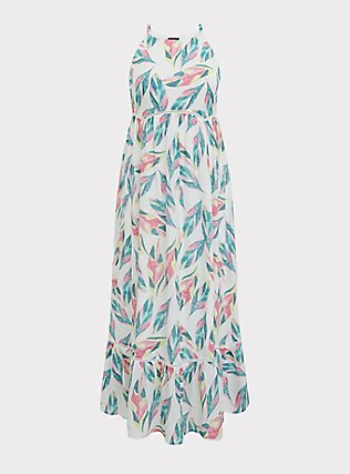 Plus Size White Tropical Gauze Shirred Hem Maxi Dress, FLORAL - MULTI, flat