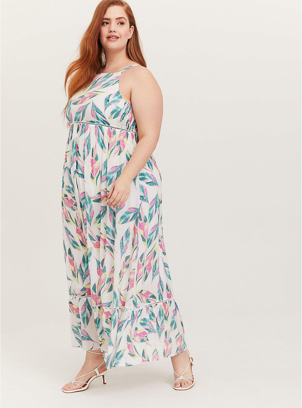 White Tropical Gauze Shirred Hem Maxi Dress, FLORAL - MULTI, hi-res