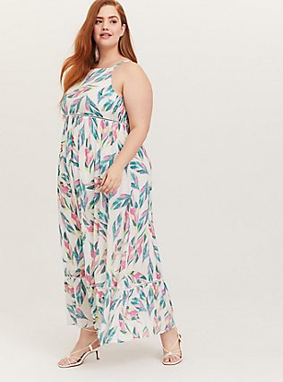 Plus Size White Tropical Gauze Shirred Hem Maxi Dress, FLORAL - MULTI, hi-res