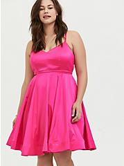 Plus Size Special Occasion Hot Pink Satin Skater Dress, PINK GLO, alternate