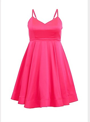 Special Occasion Hot Pink Satin Skater Dress, PINK GLO, flat