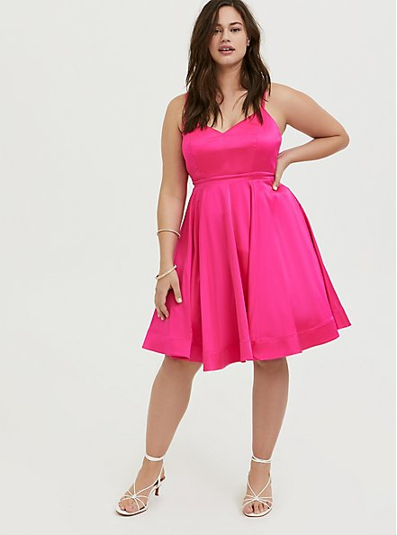 Special Occasion Hot Pink Satin Skater Dress, PINK GLO, hi-res