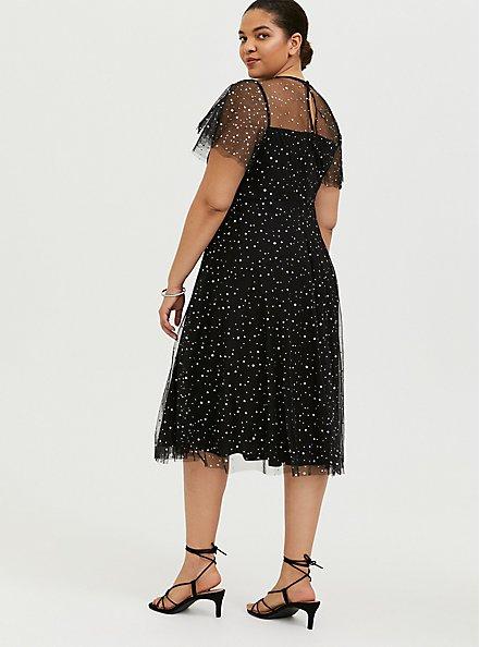Special Occasion Black Mesh Iridescent Star Midi Dress, DEEP BLACK, alternate