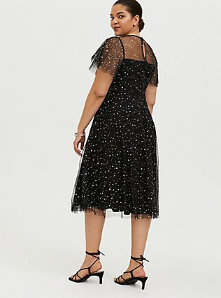 Plus Size Special Occasion Black Mesh Iridescent Star Midi Dress, DEEP BLACK, alternate