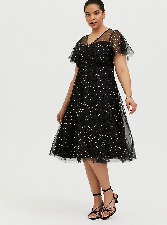 Plus Size Special Occasion Black Mesh Iridescent Star Midi Dress, , hi-res