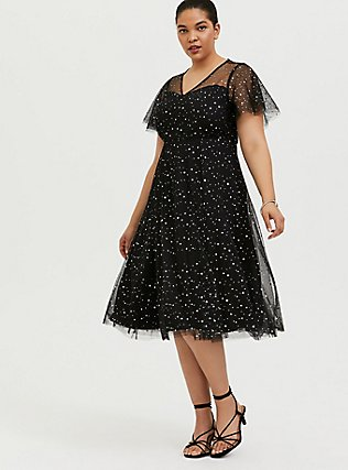 Plus Size Special Occasion Black Mesh Iridescent Star Midi Dress, DEEP BLACK, hi-res