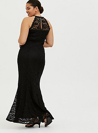 Plus Size Special Occasion Crop Goddess Tank & Maxi Skirt Set, DEEP BLACK, alternate