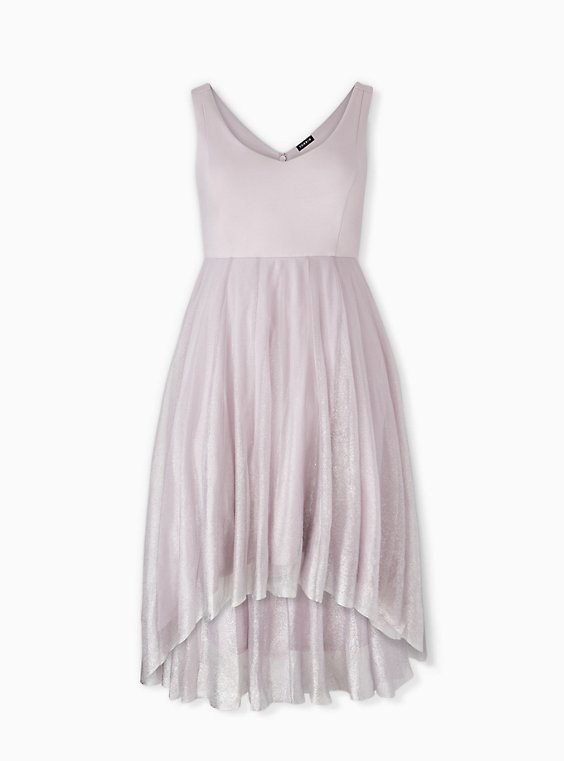 Plus Size Special Occasions Lilac Purple Ponte Shimmer Midi Dress, , hi-res