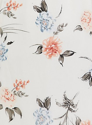 White Floral Chiffon Ruffle Button Down Skater Dress, , alternate