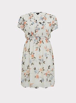 White Floral Chiffon Ruffle Button Down Skater Dress, , flat