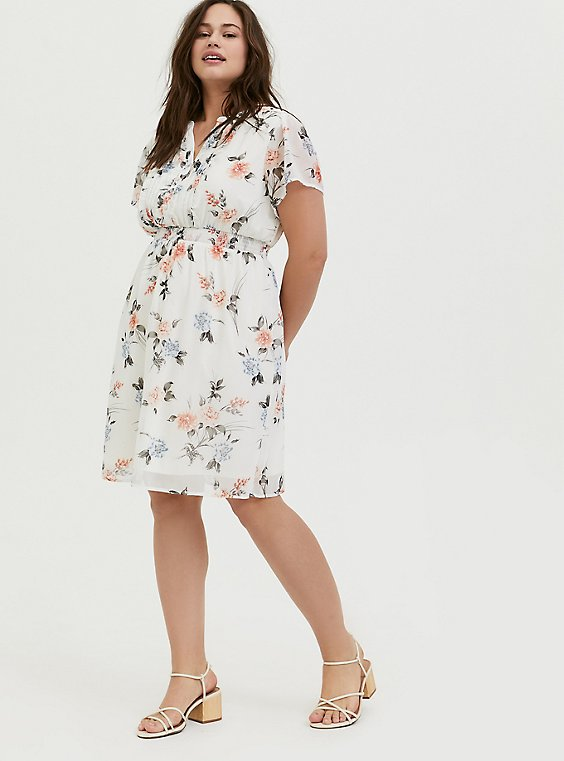 Plus Size White Floral Chiffon Ruffle Button Down Skater Dress, , hi-res