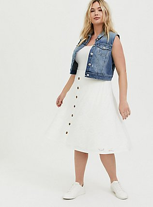 Crop Denim Vest - Medium Wash, MEDIUM WASH, alternate