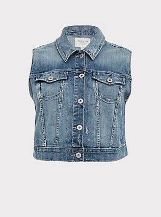 Crop Denim Vest - Medium Wash, MEDIUM WASH, flat