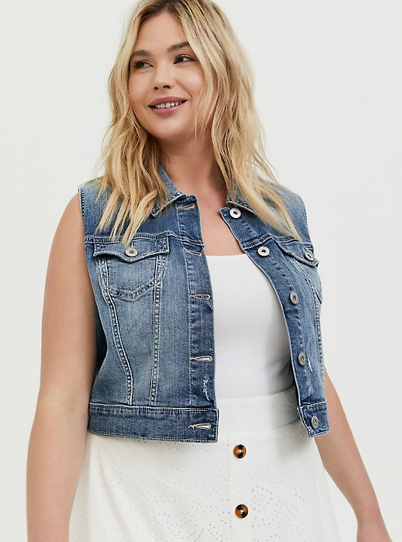 Crop Denim Vest - Medium Wash, , hi-res