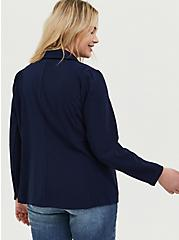 Plus Size Navy Longline Boyfriend Blazer, PEACOAT, alternate