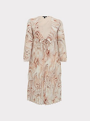 Multi Marble Chiffon Tie Front Duster, OIL SPILL - WHITE, flat