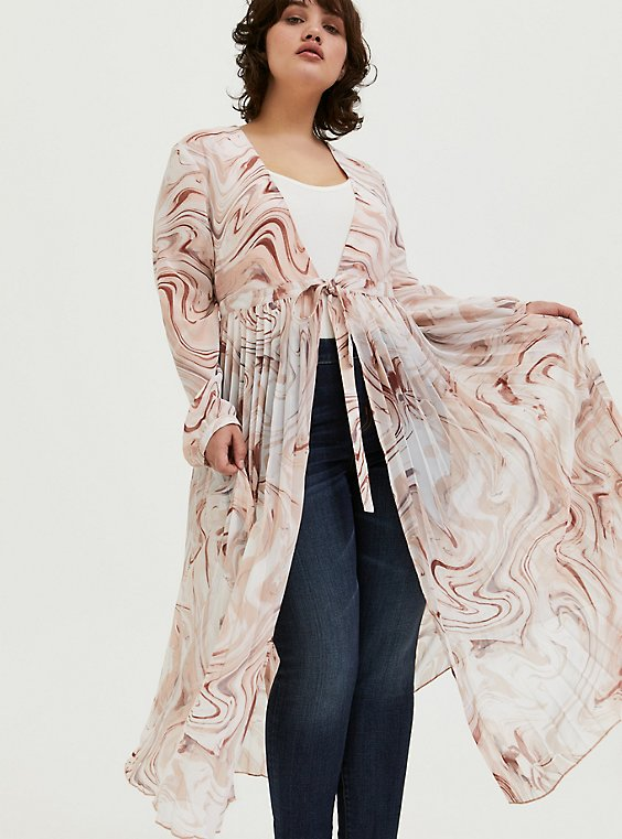 Multi Marble Chiffon Tie Front Duster, , hi-res