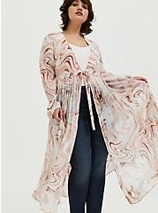 Multi Marble Chiffon Tie Front Duster, OIL SPILL - WHITE, hi-res