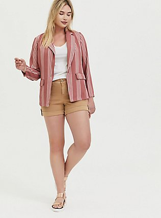 Plus Size Dusty Rose Stripe Longline Boyfriend Blazer, STRIPES, alternate
