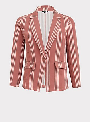 Dusty Rose Stripe Longline Boyfriend Blazer, STRIPES, flat