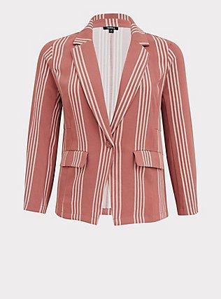 Plus Size Dusty Rose Stripe Longline Boyfriend Blazer, STRIPES, flat