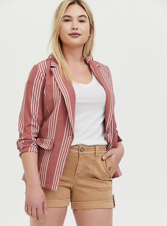 Plus Size Dusty Rose Stripe Longline Boyfriend Blazer, , hi-res