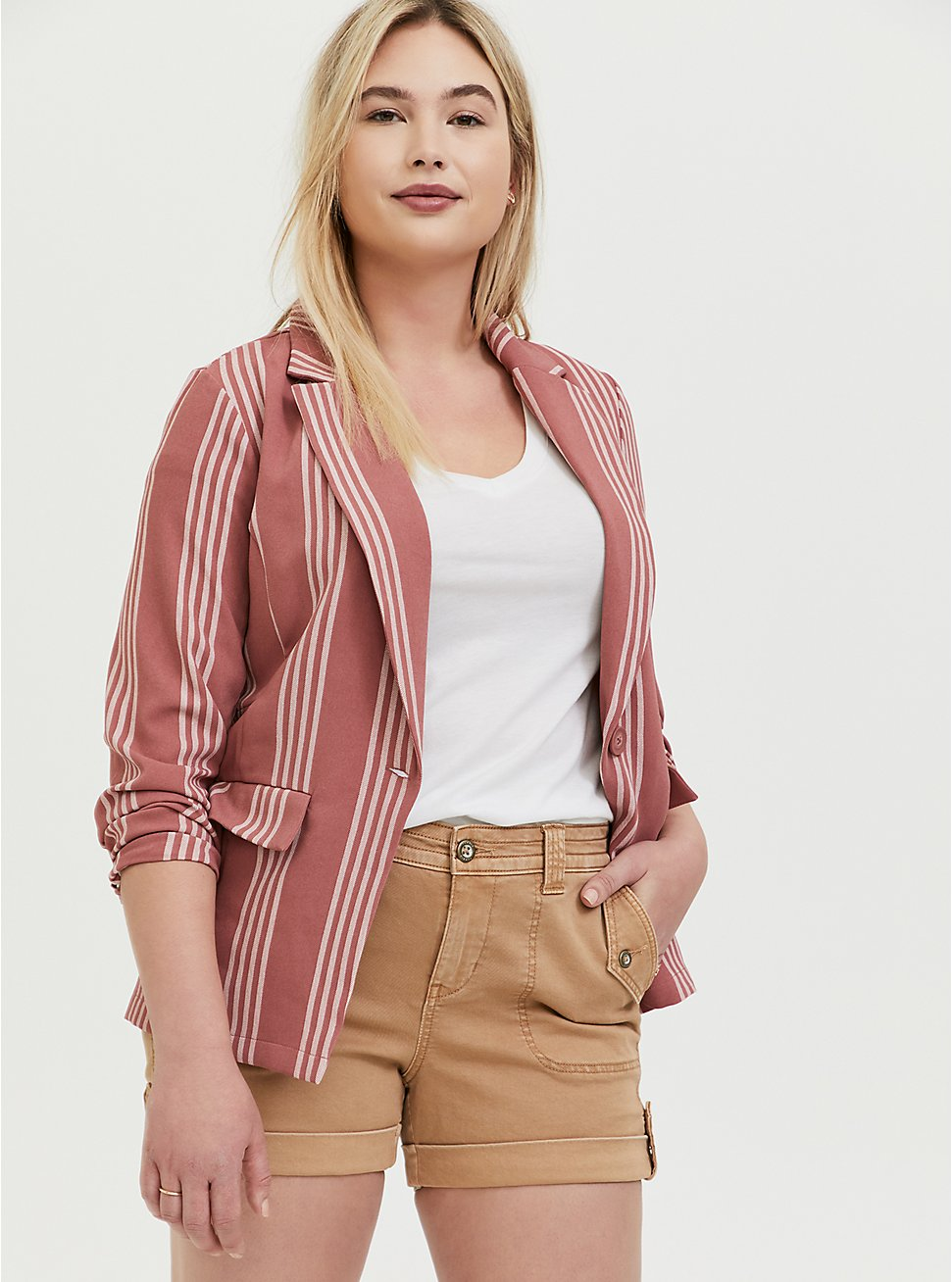 Plus Size Dusty Rose Stripe Longline Boyfriend Blazer, STRIPES, hi-res