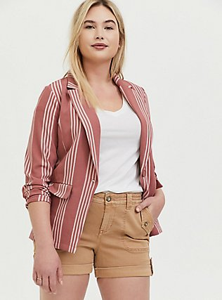 Dusty Rose Stripe Longline Boyfriend Blazer, STRIPES, hi-res