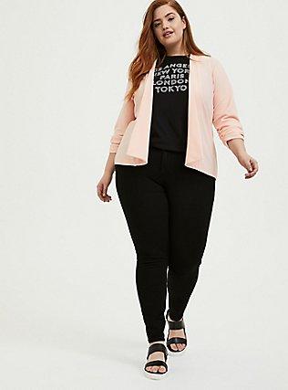 Peach Pink Crepe Drape Front Blazer, PEACH MELBA, alternate