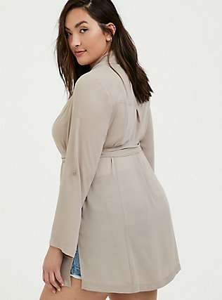 Plus Size Taupe Georgette Self Tie Trench Coat, ATMOSPHERE, alternate